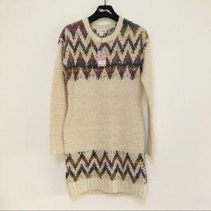 Shrinking Violet Rainbow Long Sweater Cream